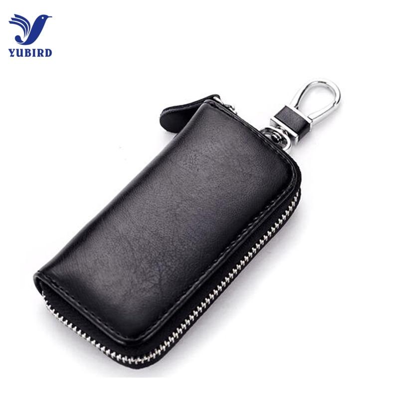 Genuine Leather Key Holder Case Unisex Key Wallets Bag Solid Coin Purse Black Keychain Organizer Car