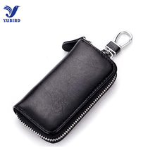 Genuine Leather Key Holder Case Unisex Key Wallets Bag Solid Coin Purse Black Keychain Organizer Car Ring Leather Key Pouch