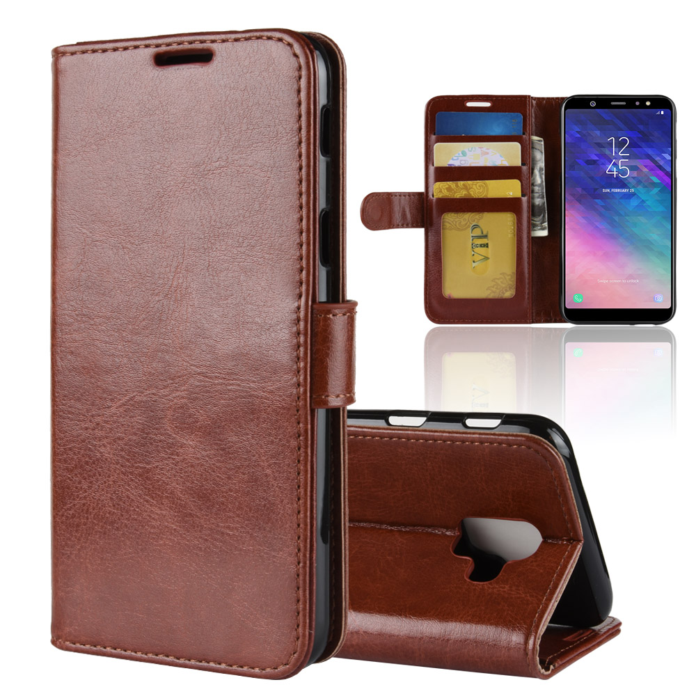 A6 (2018) Case for Samsung Galaxy A6 Cases Wallet Card Stent Book Style Flip Leather Protect Cover black A600 SM A600FN A6-2018