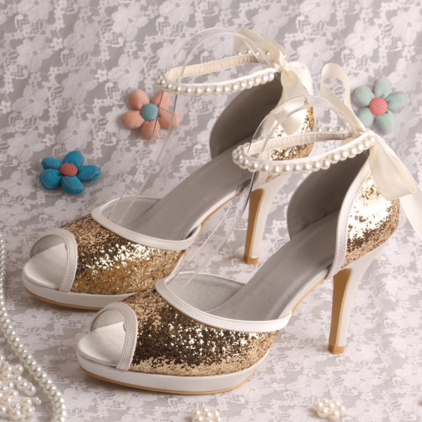 ФОТО Wedopus Gold Glitter Bridal Sandals Wedding Shoes Pearl Strap High Heeled
