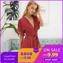 a282232abf0 Simplee Sexy v neck boho beach romper women Half sleeve dot short jumpsuit  2018 Floral print playsuit summer macacao feminino
