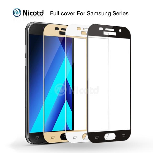 For Samsung J5 J7 J3 2017 2016 EU Full Cover Tempered Glass for Samsung Galaxy A3 A5 A7 2017 2016 Screen Protector j730 j530 EU