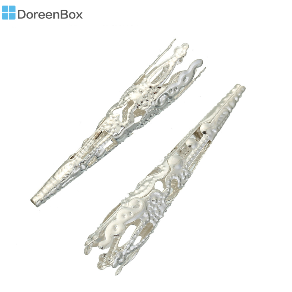 Дорин коробка Прекрасный 60 шт. серебряный цвет филигрань ногтей Распорки Бусины caps9 * 40 мм (b00760)