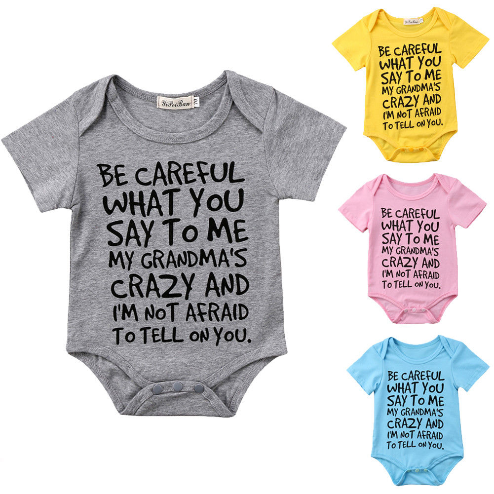 4color !Newborn Baby Boy Girl Toddler Grandma  Short Sleeve Romper Jumpsuit Clothes Outfit 0-24M