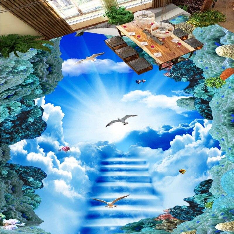 Free shipping custom Cloud ladder clouds sky 3D floor painting self-adhesive thickened waterproof lobby flooring wallpaper mural