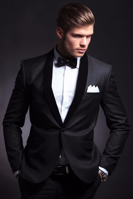 Aliexpress.com : Buy Hot Sale One Button Charcoal Groom Tuxedos ...