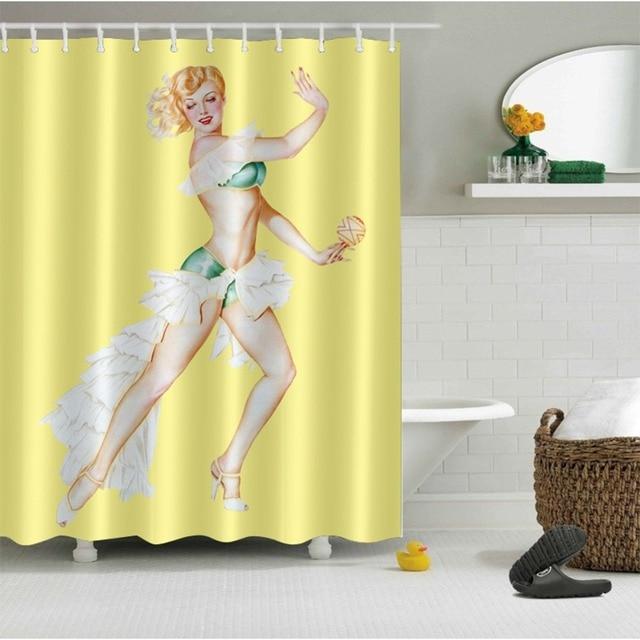 LB 72 Sexy Girl Green White Bikini Yellow Shower Curtains Polyester European Retro Bathroom