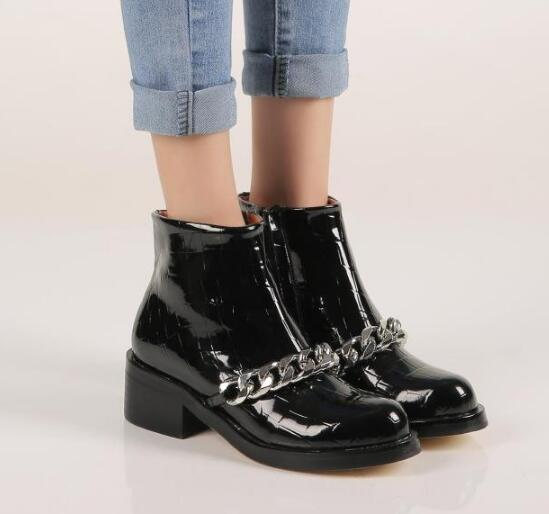 Black/red/white leather metal chains decoration side zipper square heel ankle boots round toe flat boots size 35-42