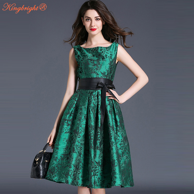d5f8203de8326c9 King яркий Для женщин Лето ретро Винтаж платье большие качели вечеринку  платье-туника Vestidos зеленый