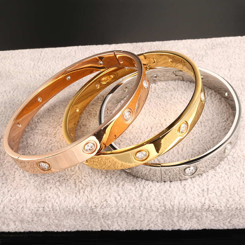 Fashion Brand Women Bracelets & Bangles Open Cuff Design Stainless Steel Crystal Bracelets Luxury Rose Gold Jewelry For Wedding