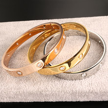 Fashion Brand Women Bracelets & Bangles Open Cuff Design Stainless Steel Crystal Bracelets Luxury Rose Gold Jewelry for Wedding(China)