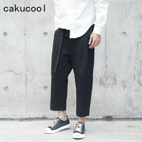 Cakucool New Vintage Black Pants Summer Spring Loose Casual Harem Pant Japan Design Capris Normcore Ankle