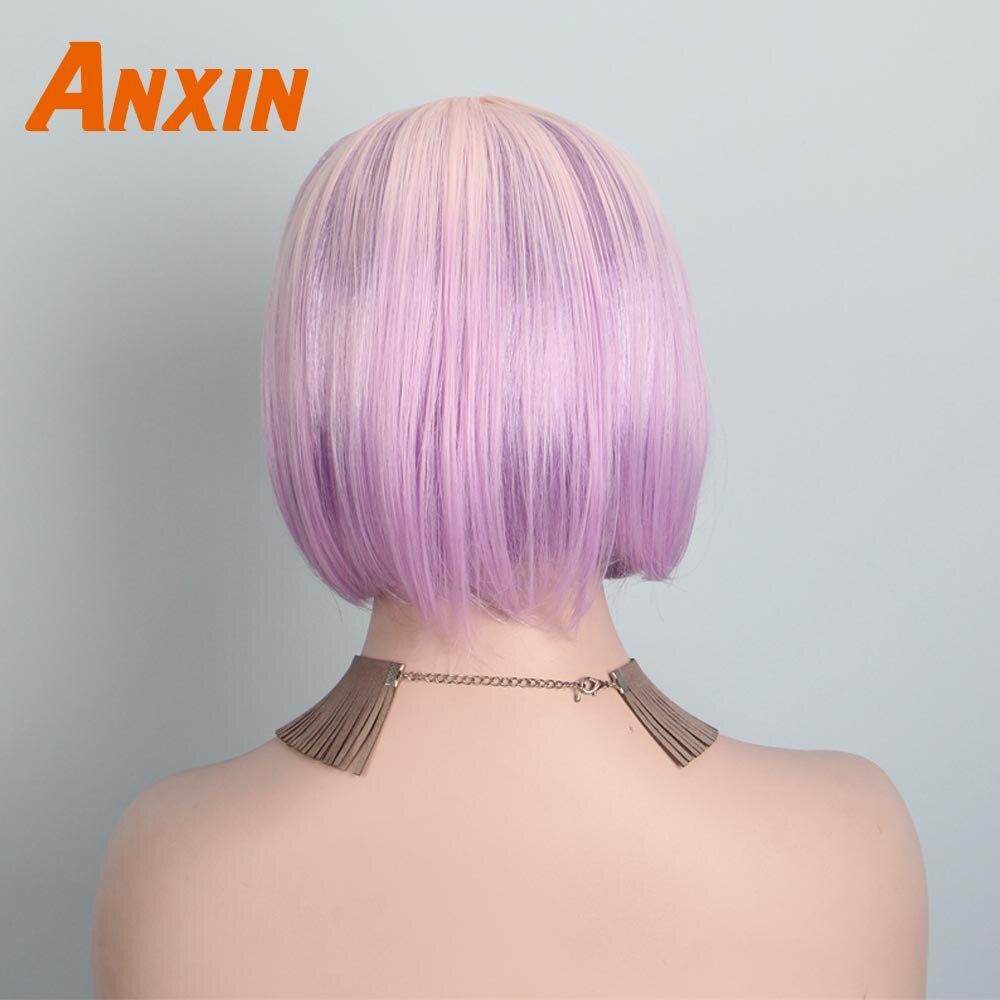 Anxin doce ombre rosa curto bob peruca
