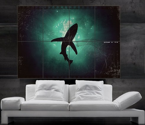 Shark Wall Art amazing white shark shadow diving into the deep ocean journey big