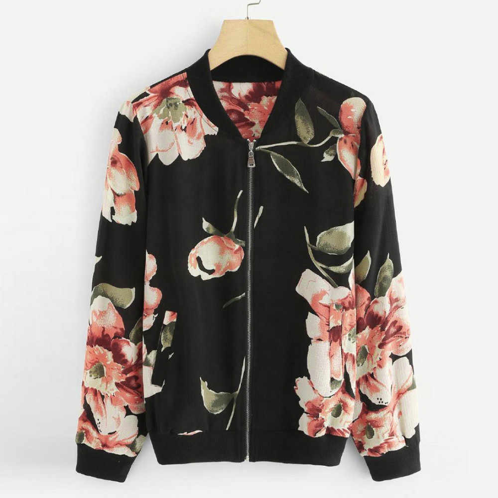 Floral Printed Spring Women's Jackets Plus Size Short Female Coat Zipper Chaqueta Long Sleeve Women Bomber Jacket