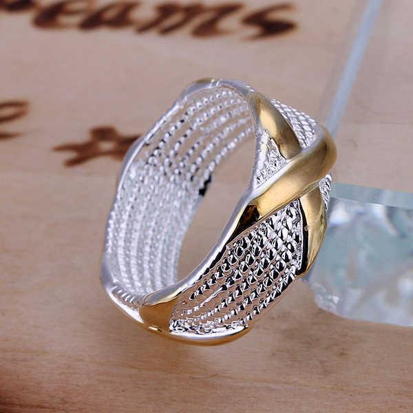 Золотые свадебные кольца #6 #7 #8 #9, 925 штампованные посеребренные вечерние кольца с красивой коробкой для юбилея, модные женские/мужские кольца для пары