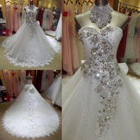 Sexy Luxury Wedding Dress Lace Wedding Dresses Backless 2015 With Beading Robe De Marriage Casamento New