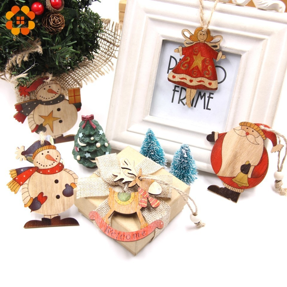 High Quality 9PCS Santa Claus Snowman Deer Christmas Wooden Pendants Ornaments Wood Crafts Christmas Tree Ornaments Decorations in Pendant Drop Ornaments from Home Garden