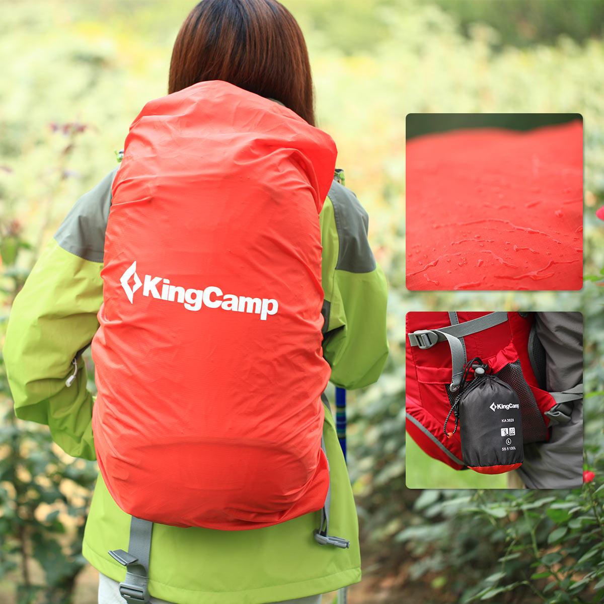 KingCamp Portable Housse De Pluie pour Sac À Dos de Randonnée Camping Étanche Couverture avec petit Bagage Poche 3 Taille, 25-35L, 35-55L, 55-100L