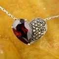 Colar de pedra de nascimento da mãe presente do dia de amor em forma de coração colar de 100% 925 sterling silver red cor cz pingentes mulheres jóias