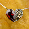 Mother's day gift necklace birth stone heart shaped love necklace 100% 925 sterling silver red color cz pendants women jewelry