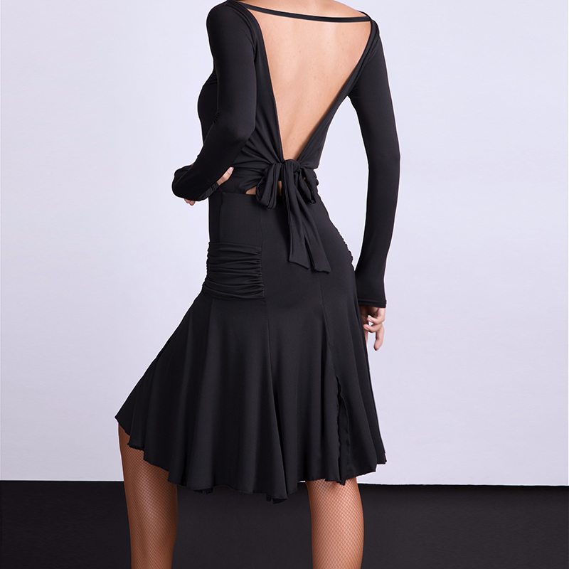 Sexy Backless Latin Dance Dress For Women Black Ballroom Cha Cha Samba Rumba Practice Dance Wear