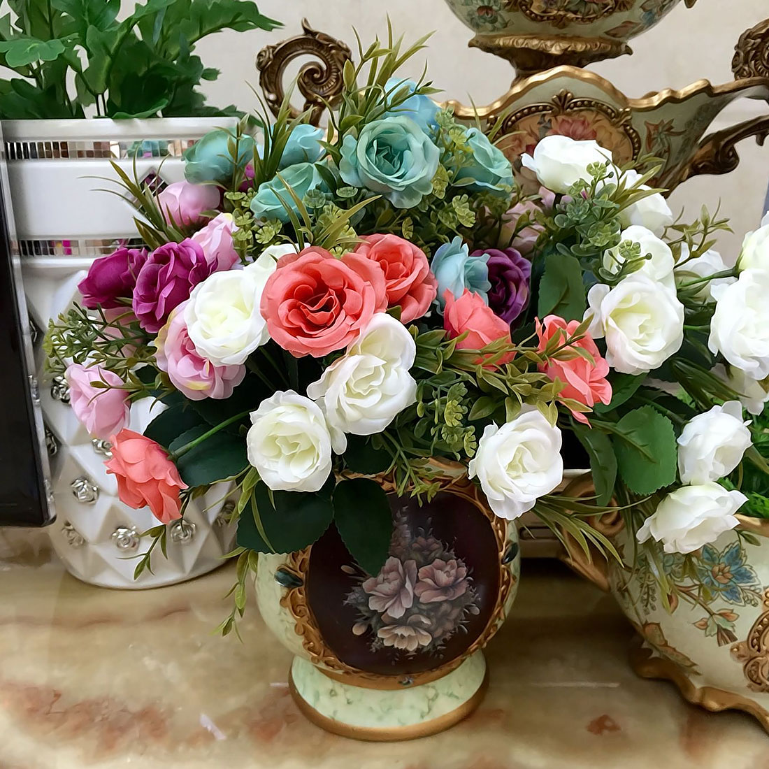 1 bunch artificial flowers french rose floral bouquet fake silk note different size for manual measuring for measuring way there will be a little error about 1 3cm the color may be a little different because of izmirmasajfo
