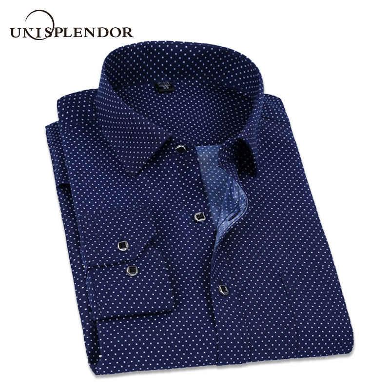 bbfe9fd7f64e5e0 2019 Весна в горошек и твердые мужские повседневные рубашки классический  для мужчин рубашка с длинным рукавом