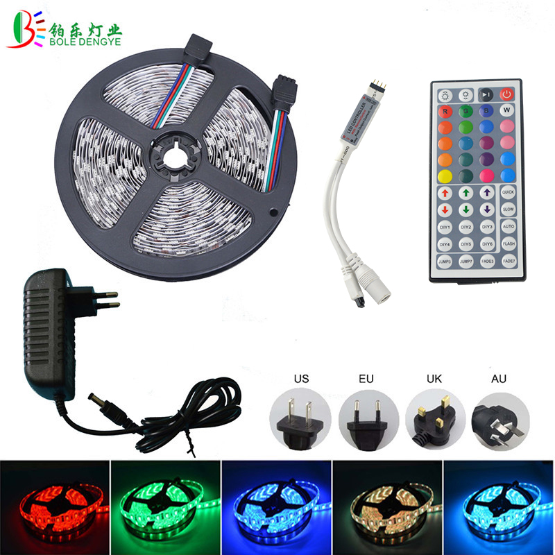 5M 10M LED Strip 2835 led strip light waterproof RGB strip led ribbon diode tape string with IR remote and DC 12v Power adapter 10m 5m 3528 5050 rgb led strip light non waterproof led light 10m flexible rgb diode led tape set remote control power adapter