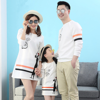Mom And Daughter Matching Dress Clothes Dad And Son T Shirt Family Outfits Long Sleeve Casual Dress 2019 Cartoon Pattern Deer