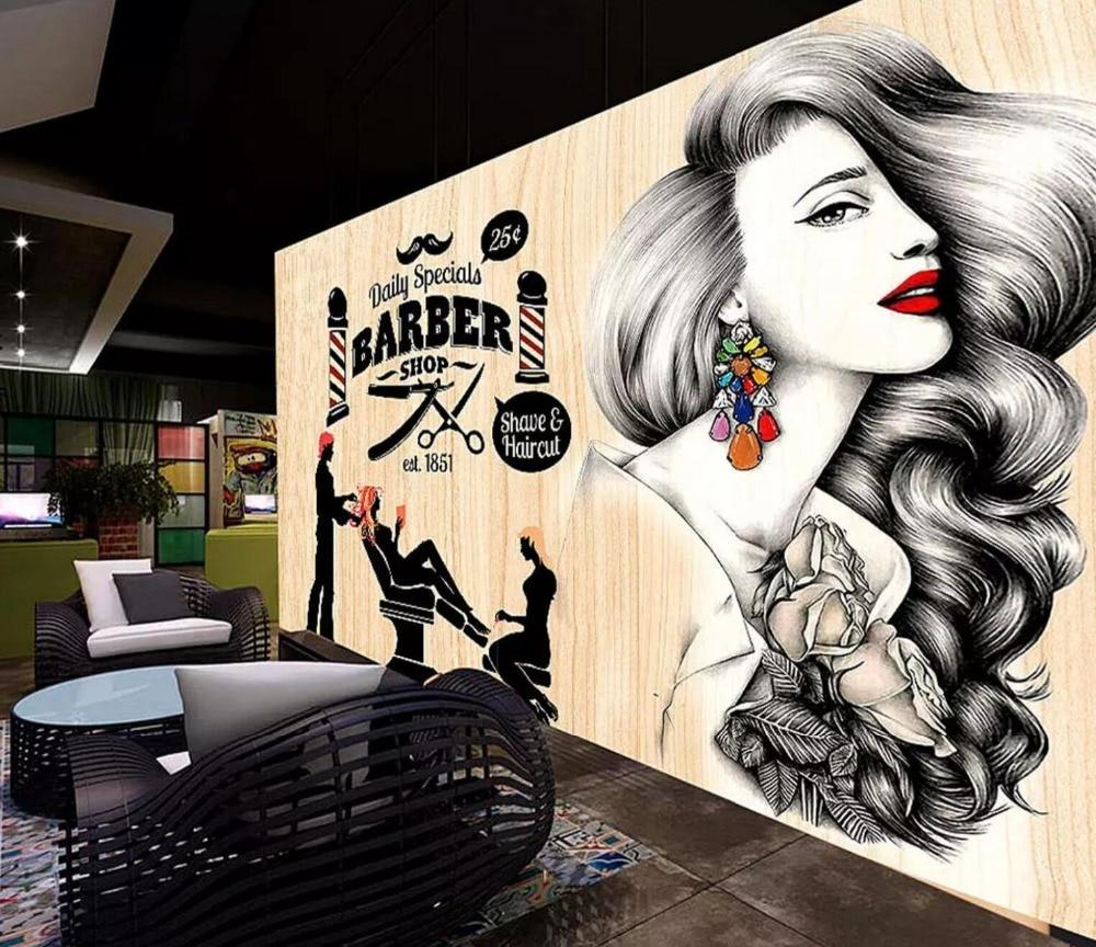 [Self-Adhesive] 3D Hair Salon Advertising Signboard 33 Wall Paper Mural Wall Print Decal Wall Murals