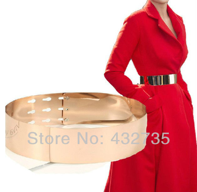 Retail Fashions 2013 Gold Metal Plate Corset Mirror Wide Waist Female Belt Vintage Metallica Cummerbund For Women Dress Designer