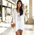 Nuevo 2016 mujeres del verano estilo Popular redondo vestido sección corta de floja ocasional de la gasa de mujer moda ropa Dress B005