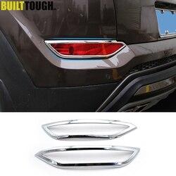 For Hyundai Tucson TL 2016 2017 2018 Chrome Rear Trunk Bumper Reflector Fog Light Foglight Lamp Cover Frame Garnish Car Styling
