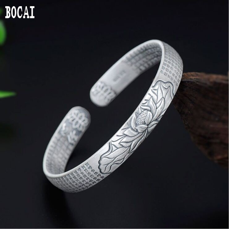 S999 pure silver heart  lotus bracelet retro great compassion silver bracelet female models six-word mantra jewelryS999 pure silver heart  lotus bracelet retro great compassion silver bracelet female models six-word mantra jewelry