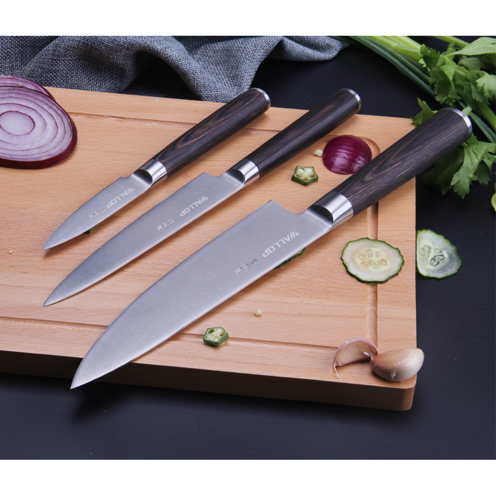 Wallop kitchen knives set cook knife 7cr17 steel chef knife 8+utility knife 6+paring knife 3.5 total 3 pcs