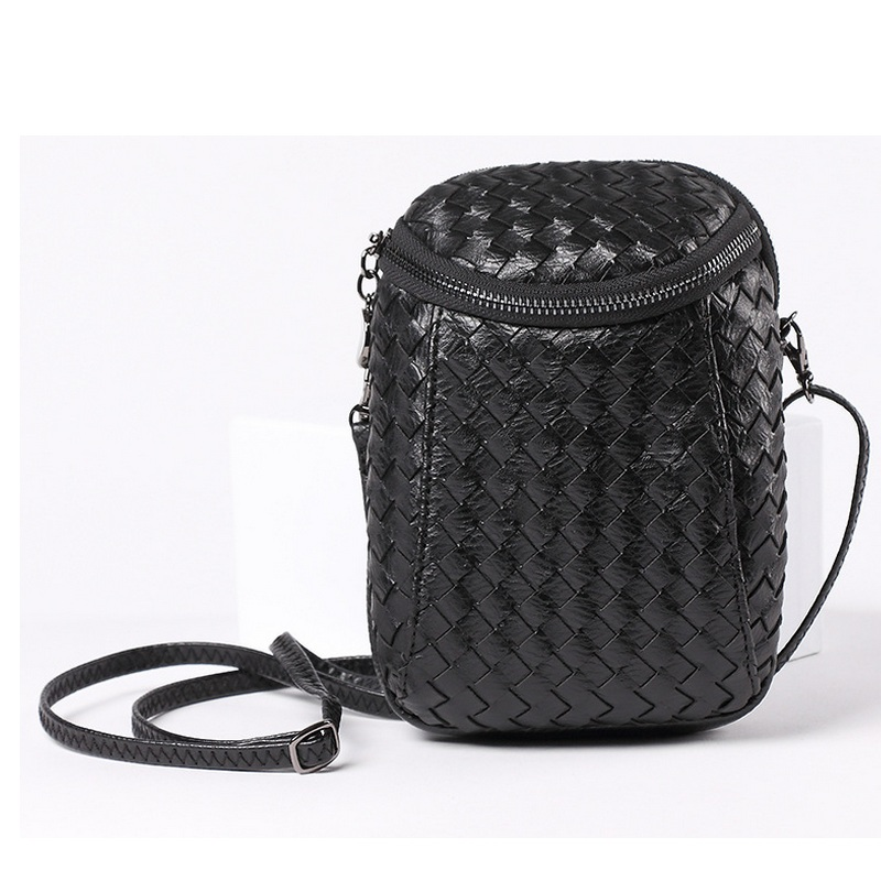 Women Fashion Personality Cell Phone Pouch Girls PU Weave Woven Shoulder Pocket Bag Knitting Small Coins Bags Mini Crossbody