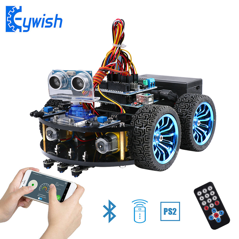 Smart Cars for Arduino UNO R3 Super Starter Kit APP RC Remote Control Ultrasonic Bluetooth Module Line Tracking deluxe uno r3 basic kit starter learning kit for arduino training kit digital control module