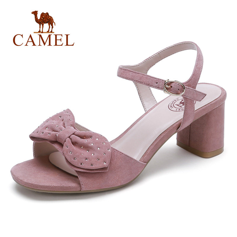 CAMEL Fashion New Women Genuine Leather Sandals Ladies High Heel Ankle Buckle Crystal Butterfly Tie Expose