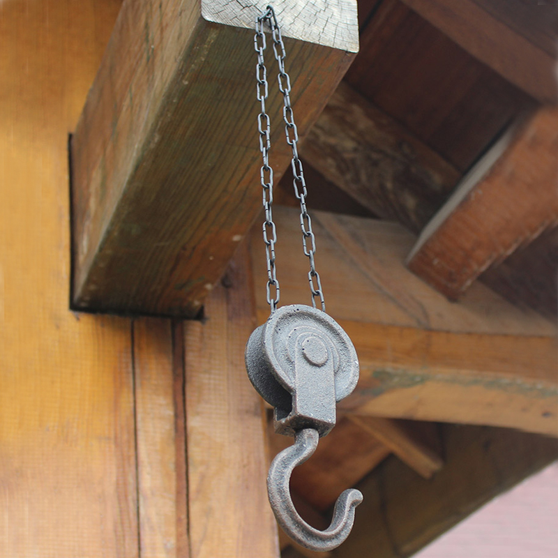 European Vintage Pulley Design Home Garden Decor Cast Iron Wall Hook With Hanging Chain