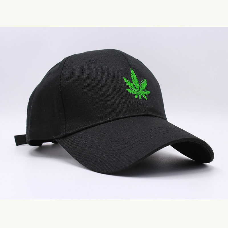b752cebef12 New Embroidered Leaves Baseball Cap Hats Black White Curved Bill Snapback  Hats Hip Hop Dad Caps Summer Gorras-in Baseball Caps from Apparel  Accessories on ...