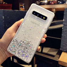 Fashion Transparent Bling Starry Sky Glitter Phone Case for Samsung Galaxy S10 S9 S8 Plus Crystal Sequins Soft TPU Silicon Cover