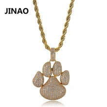 JINAO Hip Hop Fashion Paw Dog Cat Claw Necklace Cubic Zircon Gold Silver Color Pendant For Man Women Iced Out Chain Micro Pave(China)
