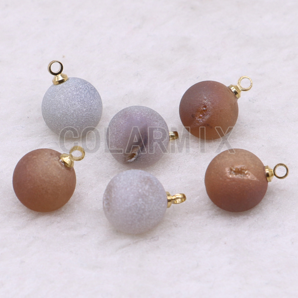 10 pcs natural stone pendant crystal tiny druzy connector charm geometric jewelry wholesale jewelry for women gift 3611