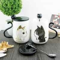 Mignon créatif grand 450 ML chat motif en céramique tasse à café avec cuillère et couverture bureau sain et usage domestique chat tasse à café