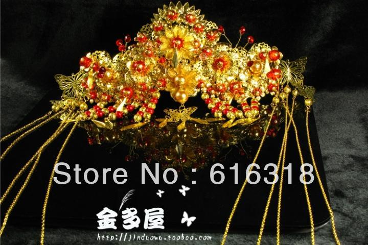 Gorgeous Large  Bride Phoneix Coronet Ancient Chinese Jewelry Hair Tiaras with Hair Comb 03 red gold bride wedding hair tiaras ancient chinese empress hat bride hair piece