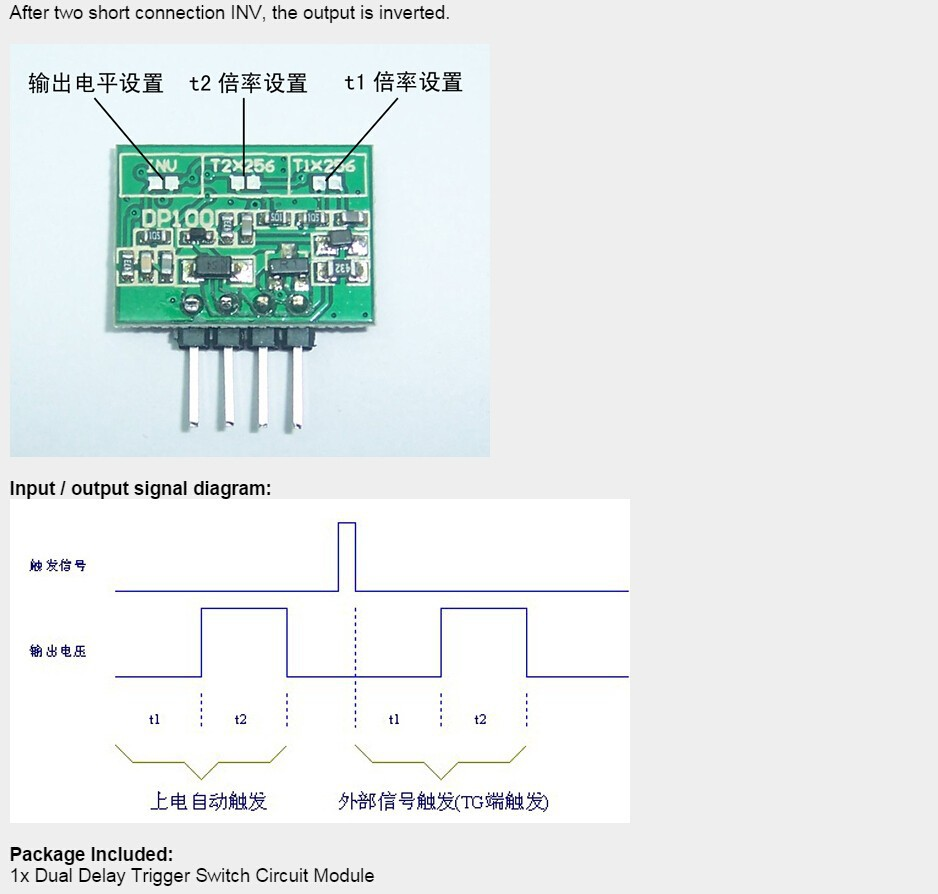 Adjustable Dual Delay Timer Switch Circuit Module For Time 57 1