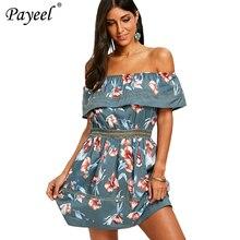 Womens Dress 2019 Summer Floral Print Ruffles Dress Off Shoulder Mini Sexy Dresses Women Causal Boho Beach Vintage Sundress
