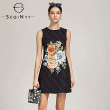 SEQINYY Black Dress Luxury Jacquard 2020 Summer New Fashion Design Flowers Printed Beading Crystal Vest Mini Women