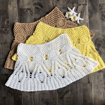 Womens Summer Handmade Lace Crochet Bikini Bottoms Skirt Solid Color Hollow Out Knitted Swimsuit Cover Up Ethnic Pattern Mini A- 10
